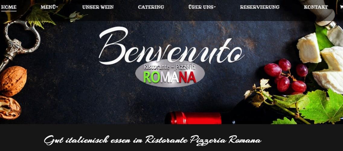 Webcontent und Webpflege Ristorante Pizzeria Romana Mönthal